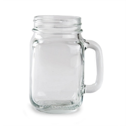 Mason Jar Mug: This sturdy mason jar with handle has a rustic feel that is sure to please! Featuring a smooth, curved handle and classic design, this drinking jar is perfect for serving beer, wine, water, iced tea, soda, and more. This simple mason drinking jar is sure to become a favorite at your restaurant, bar, or special occasion.  Capacity: 16 oz.