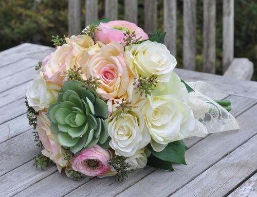 Yellow wedding flowers hollys wedding flowers green succulent yellow pink rose bouquet 1g mightylinksfo