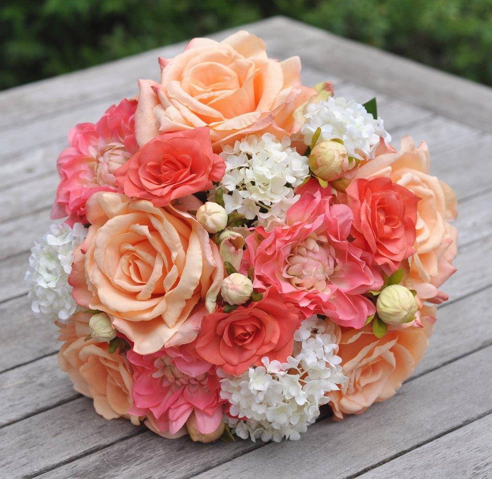 silk bridal bouquet with peach roses coral dahlias coral rose ivory viburnum