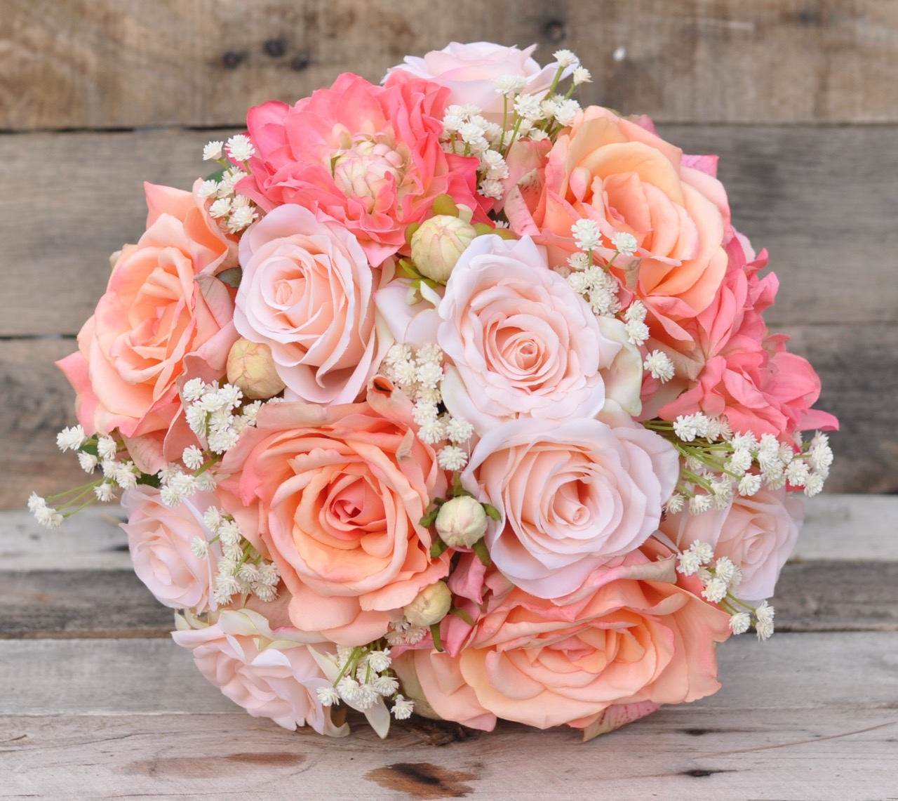 Making A Wedding Bouquet With Silk Flowers: Silk Bridal Bouquet With Peach Roses, Coral Dahlias