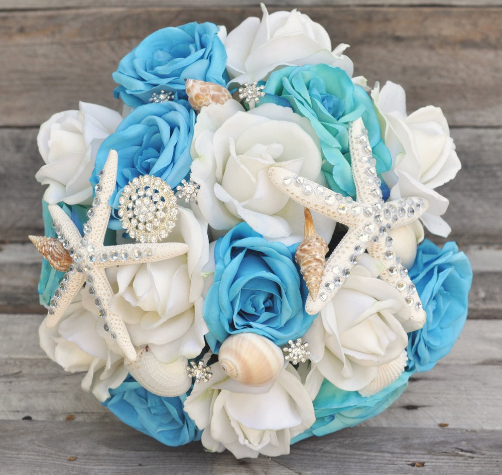 Aqua And Ivory Rose Bouquet With Seashells Hollys Wedding Flowers