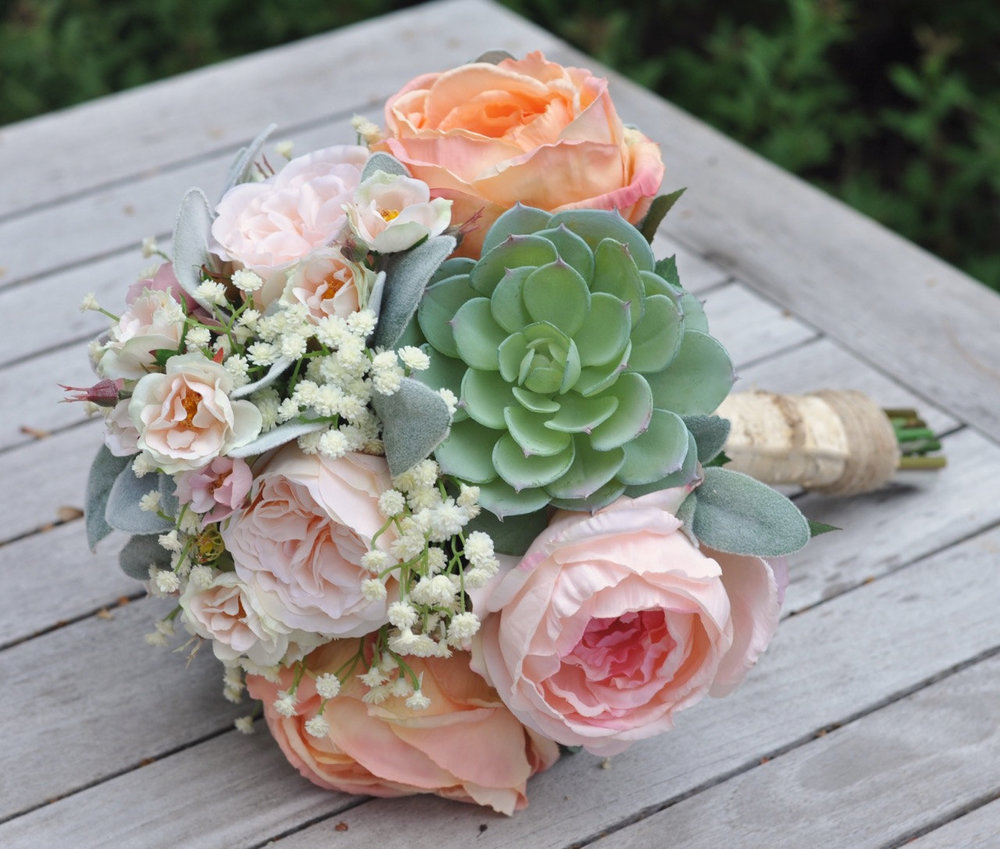 Peach And Pink Cabbage Roses, Succulents, Baby Breath Silk Flower Bouquet.