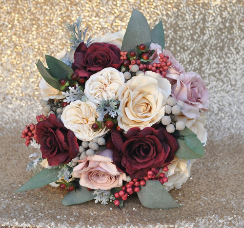 Bridal Bouquet With Marsala Mauve And Ivory Roses Dried Brunia