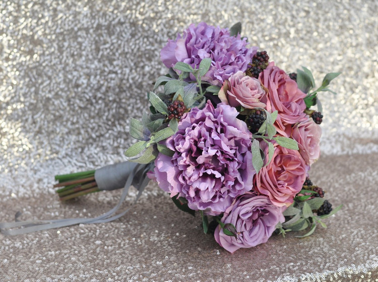 Bridal Bouquet with Purple Roses, Purple Peonies, Berry and Sage