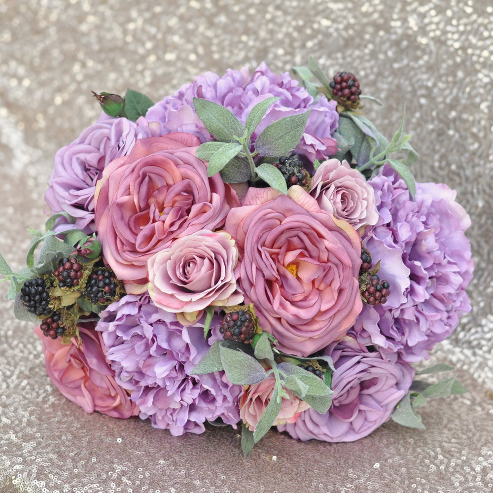 Bridal Bouquet With Purple Roses Purple Peonies Berry And Sage
