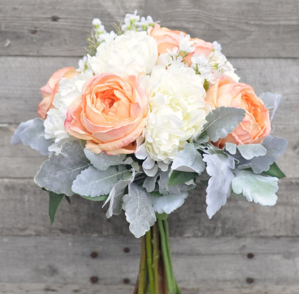 Peach Cabbage Rose, Ivory Peony, Dusty Miller Bouquet   1