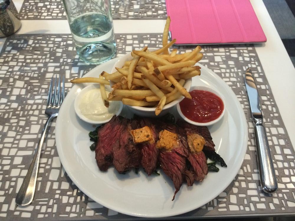 Grilled Hangar Steak, crispy fries, sauteed kale, chorizo butter