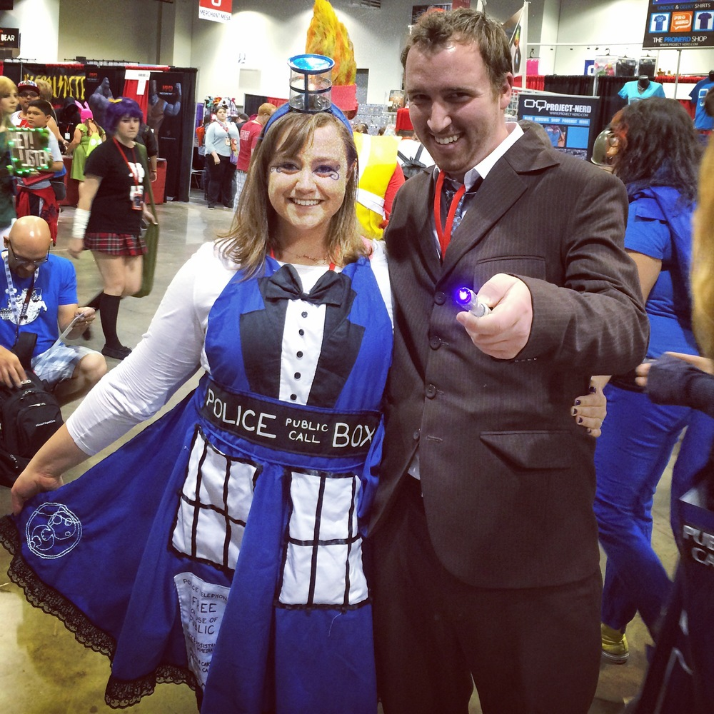 Me as the TARDIS, and Nathaniel as the Tenth Doctor