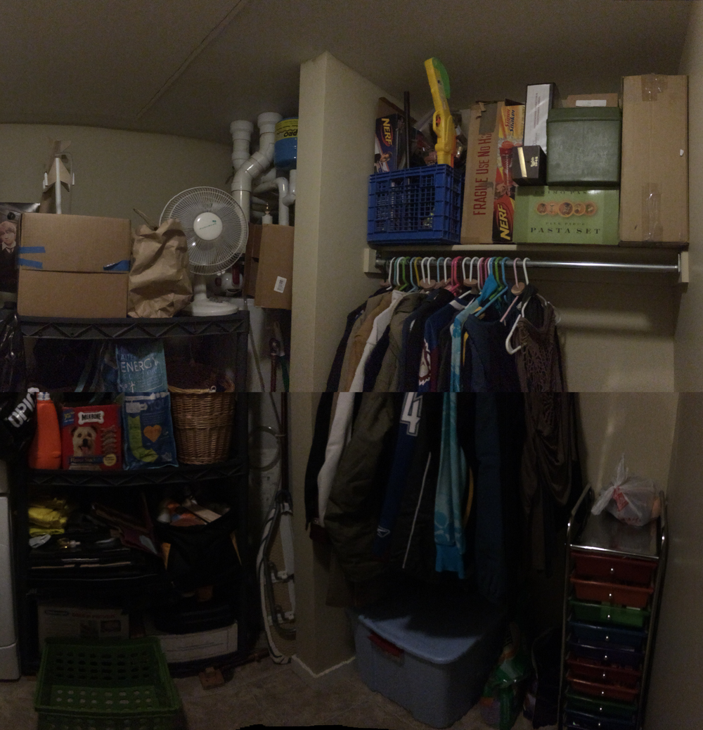 Please excuse the line in the middle - I Photoshopped two panoramas together. While I wouldn't call this room pretty, it is definitely more functional than it was before. If we had a garage, at least half of this stuff would go in there.