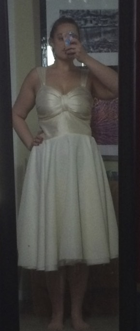 Before it was hemmed, and I needed to bring the waist up a bit. I tore the top from the bottom a couple times...not the funnest thing.