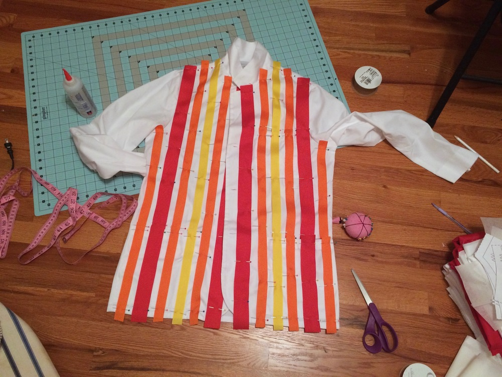 Pinning on the stripes - I decided to do this before gluing so I could make them as even and symmetrical as possible.