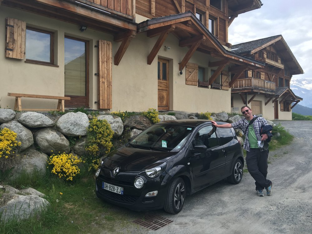 Our Airbnb, and our trusty steed - a Renault Twingo