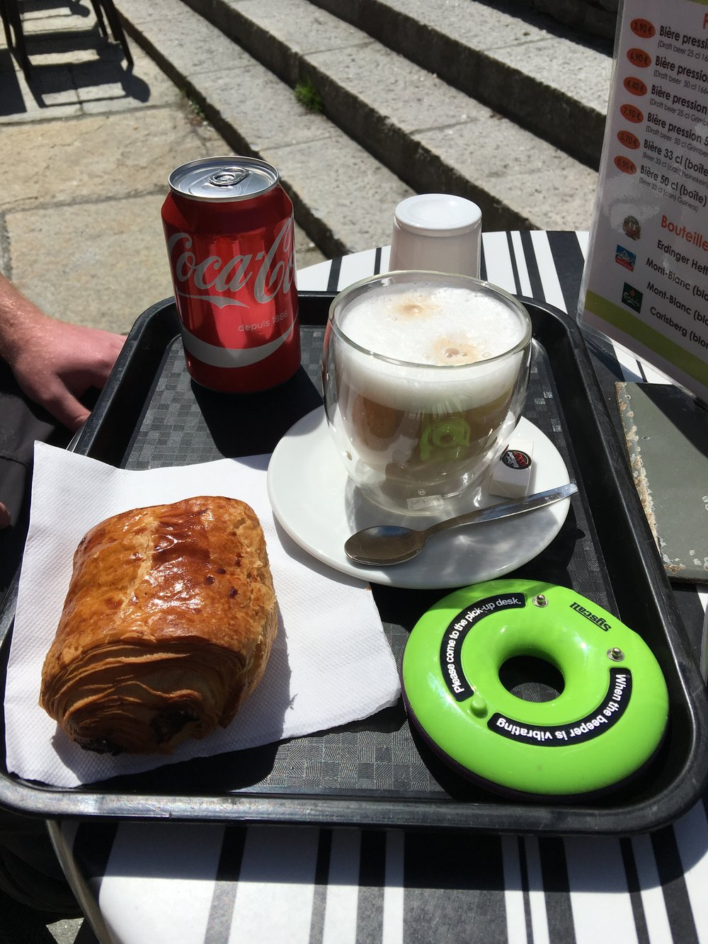 Quick breakfast... I forgot the name of the shop, but it was very close to the post office in Chamonix!
