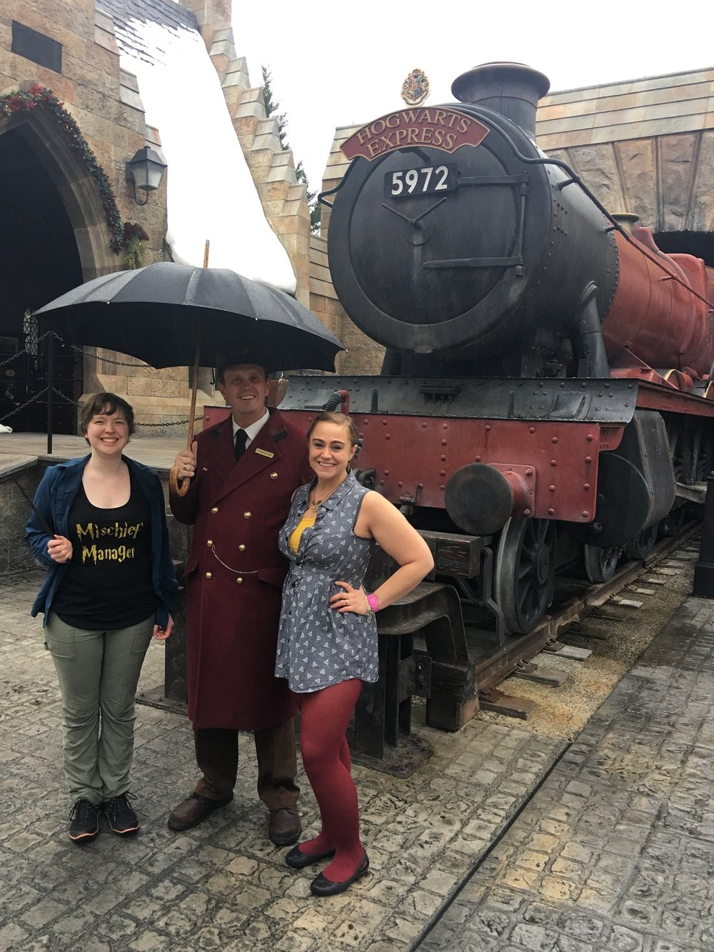 Ready to board the Hogwarts Express! Featuring a good friend and a dress I made :)