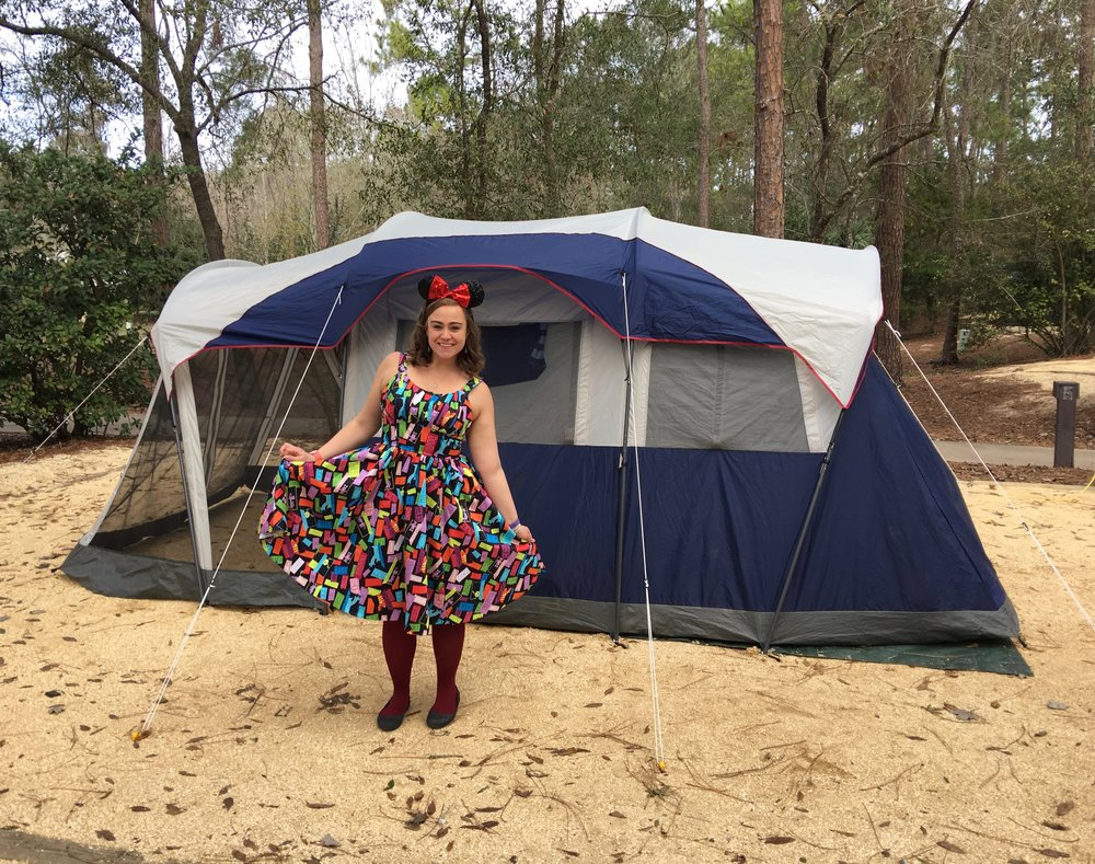WDW tent camping in my Monster's Inc. dress