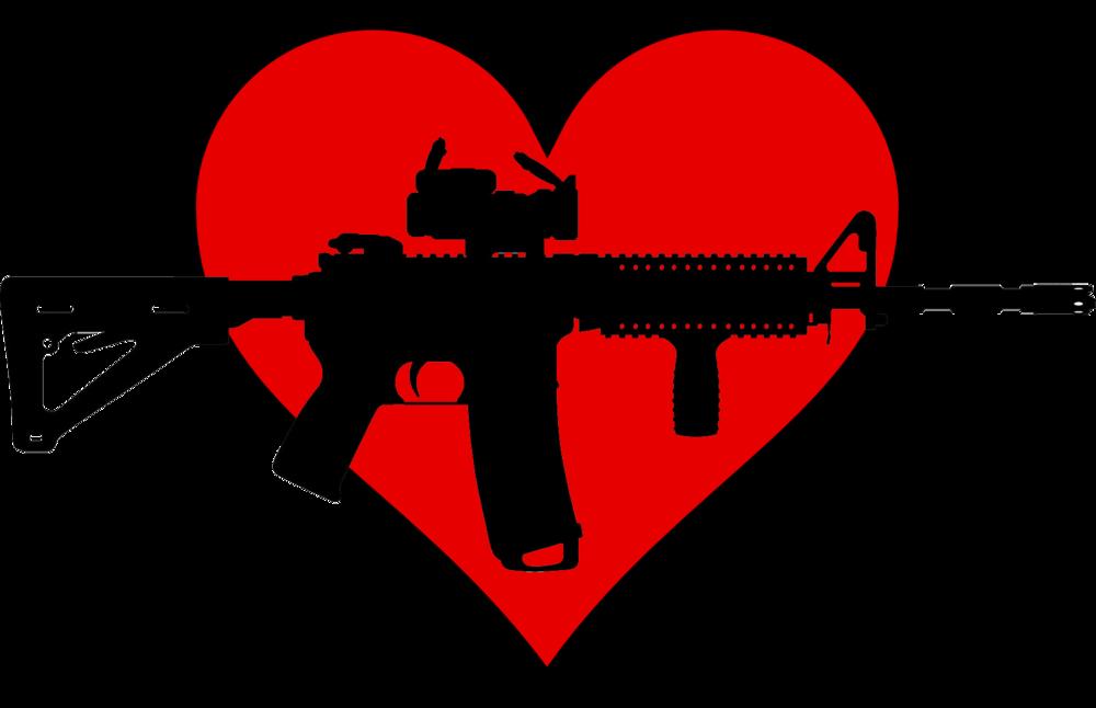 ( gun silhouette ,  heart )