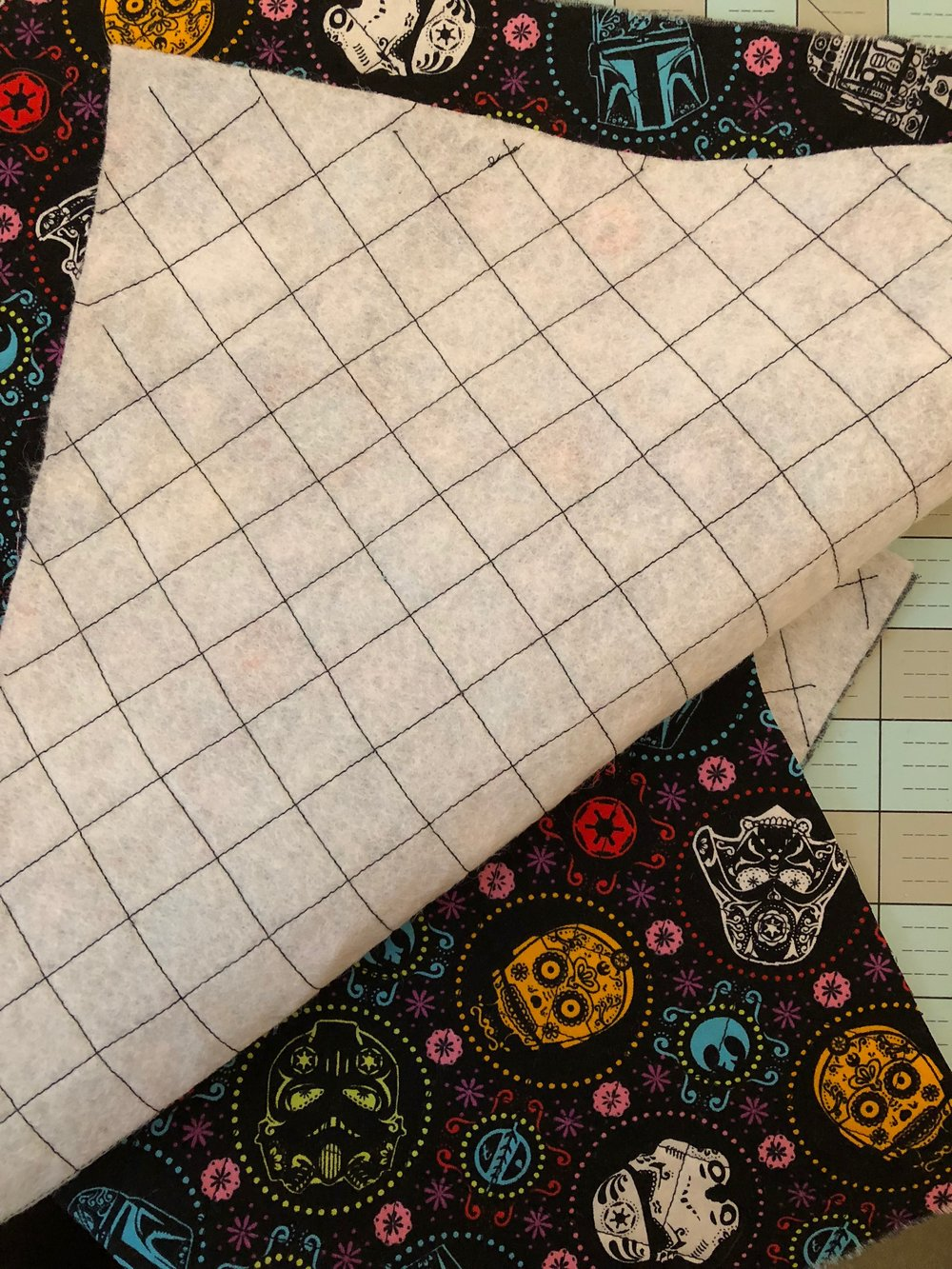 "My imperfect quilted 1"" squares (step 7)"