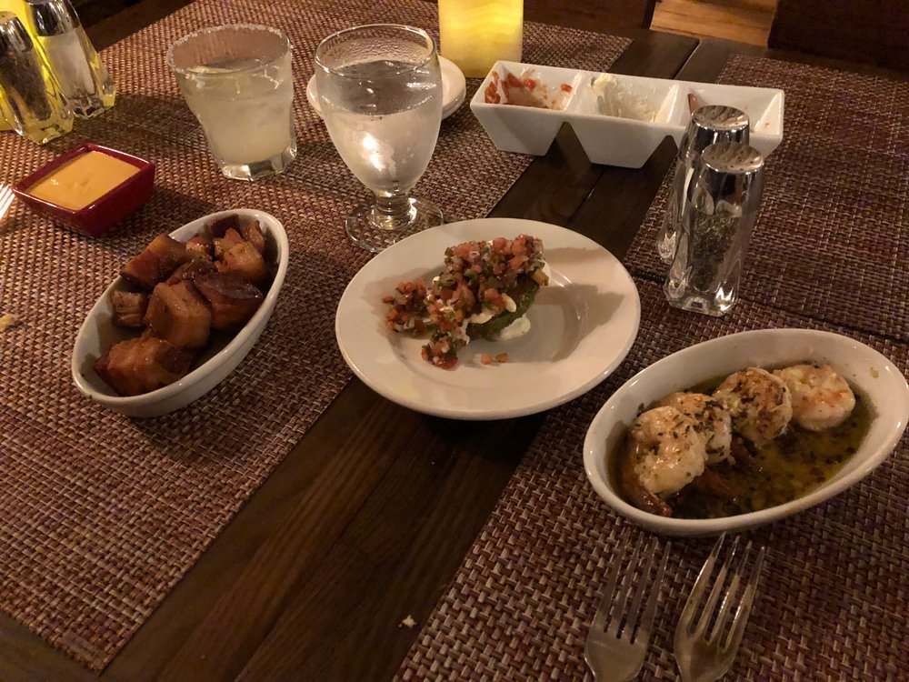 Tapas at El Farol - the chicharrones are on the left 🤤