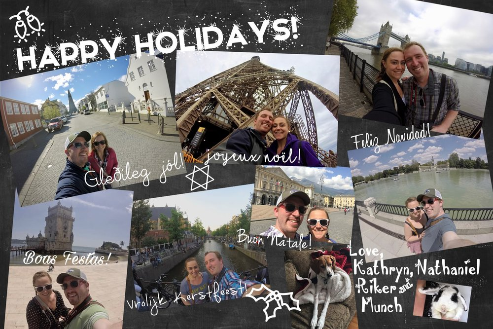 2016 - Featuring selfies of our belated honeymoon, mostly taken with our GoPro, plus candids of the fur babies. This is  by far  my favorite card I've designed!!