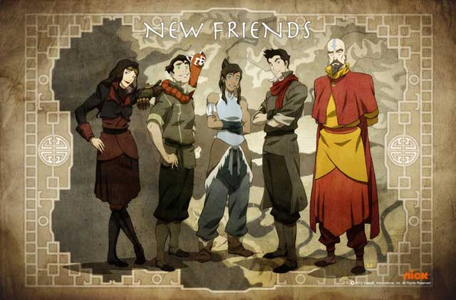 The new Team Avatar: (L to R) Asami, Bolin, Korra, Mako, Tenzin