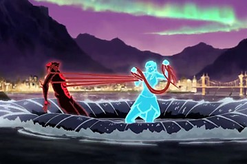 The climatic battle between Korra and Unalaq.