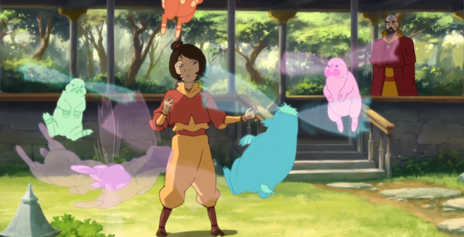 Tenzin's eldest daughter, Jinora, is shown to have an affinity with the spirits and saves the day in the season finale.