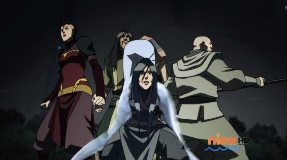 The Red Lotus (top, clockwise): Ghazan, Zaheer, Ming-Hua, P'Li.