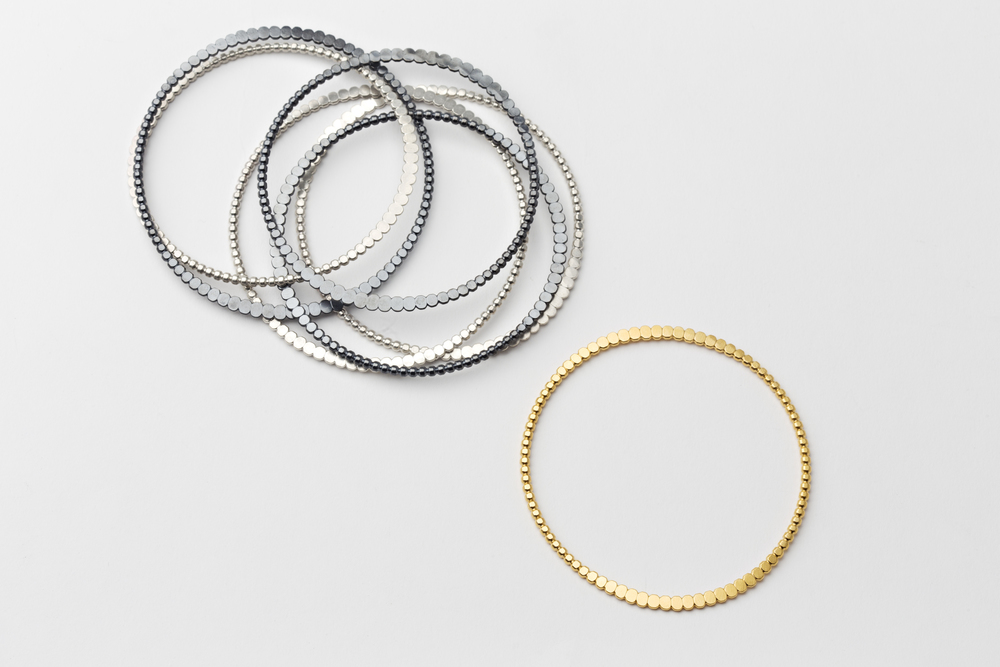 Everyday Bangles in Matte Silver, Oxidized Silver, and 18k Gold Vermeil.