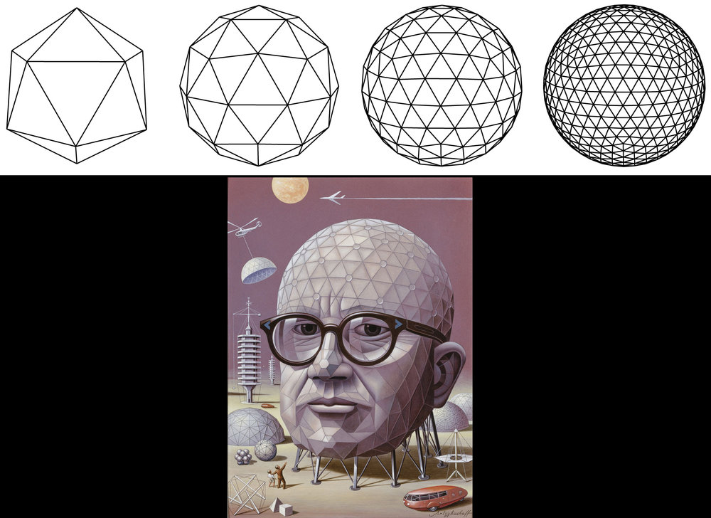 Other forms to imagine when creating polygon floating islands are Buckminster Fuller's geodesic domes. Geodesic domes or spheres, are arranged by a system of intersecting triangles to create rigidity and reduce stress when constructing dome-like structures.