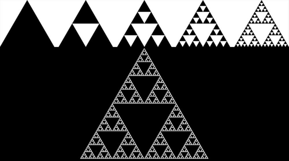 Sierpinski triangle. Polygon or the Equilateral triangle adheres to mathematical patterns that can be reproduced and reduced through magnification to its shape of origin. This fractal set of triangles become building blocks for producing forms seen in architecture (pyramids), design (tetrahedrons) and in nature.