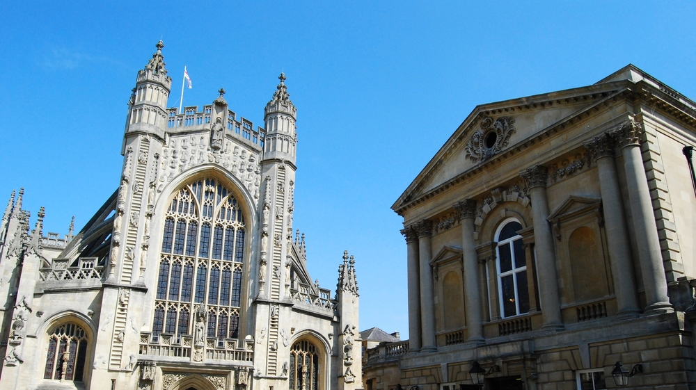 Bath Abbey is on the left, and on the tight is The Roman Baths.