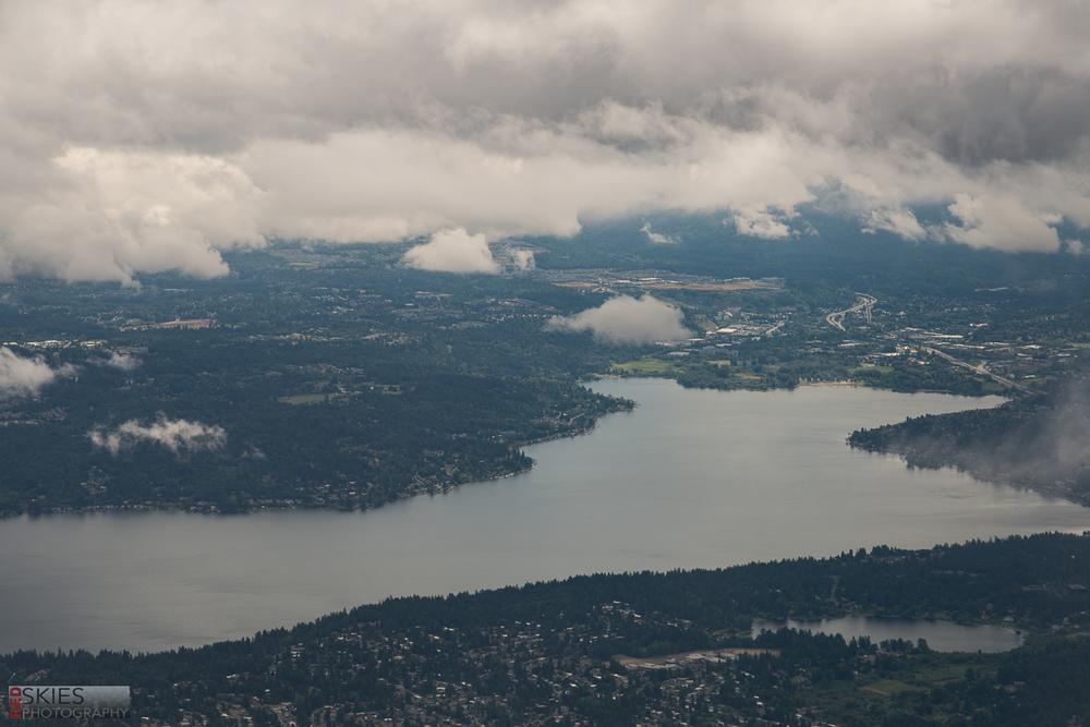 And here we are, about to land in Seattle!  There were lots of low-level clouds (which, seems to be the norm over there), but I found this view of an inlet as we emerged from the clouds.