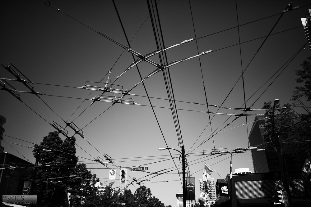 Almost all of the public transit in Vancouver is electric, and all the streets were covered in this spiderweb of cables.  It made the city seem cleaner, but also more cluttered at the same time.