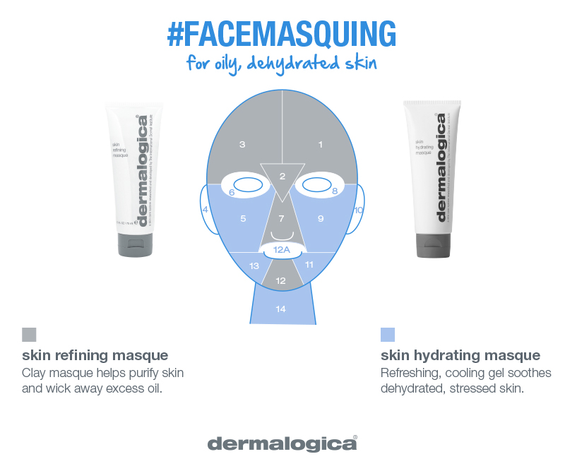 oily and dehydrated skin masque combo    balance combination skin    Oily and dehydrated? Apply Skin Refining Masque, formulated with Kaolin and Bentonite clays to absorb excess oil. Moisturize the surrounding zones with Skin Hydrating Masque.