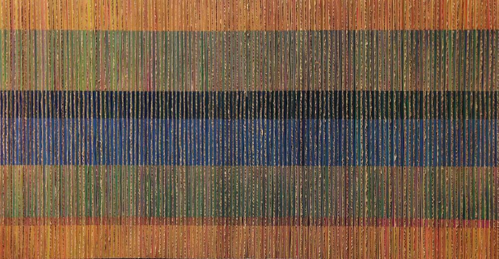 "Edward Lane McCartney, ""Chromatic Interference #2"", 2014, Paper and Cardboard Collage on Wood"