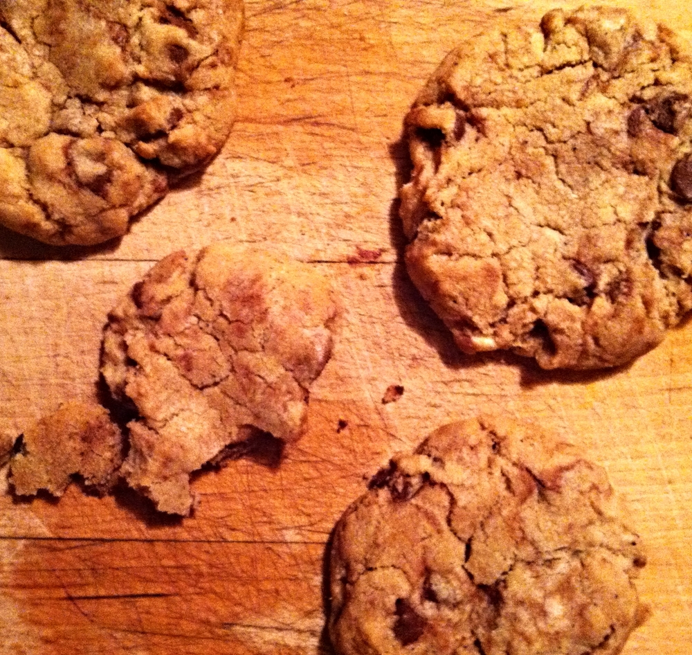 things of note: 1) yes, this was taken on my phone late at night. 2) yes, those are grease patches on the wood beneath the cookies. 3) yes, that was the fourth of a series of cookies i ate while taking this one phone shot.