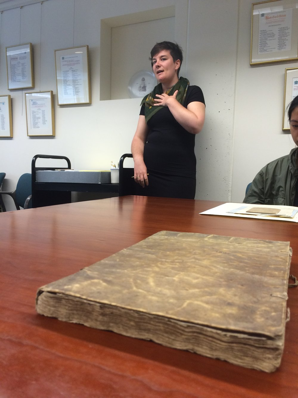 "guest teacher prof. sommers (who builds bridges between the academic and practitioner spheres) teaching us about archival documents, particularly old cookbooks, diaries, and other amazing primary sources from the pioneer valley that connected us to the land's history as seen through the lens ""women's work."""