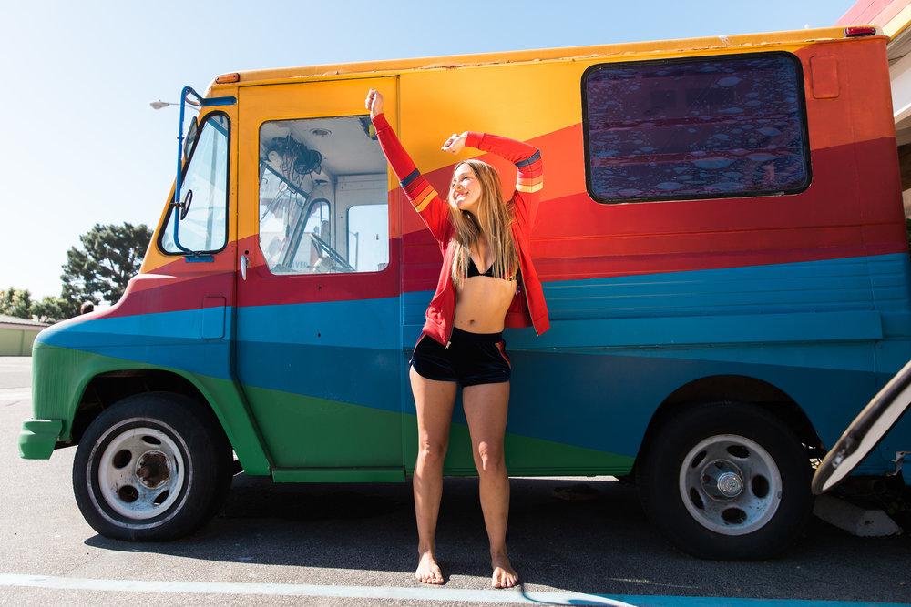 California Love Patch Hoodie in Cherry, $207; Velvet Tri-Cross Bikini Top in Navy, $123.99; 5 Stripe Velvet Jogger Shorts in Navy, $124