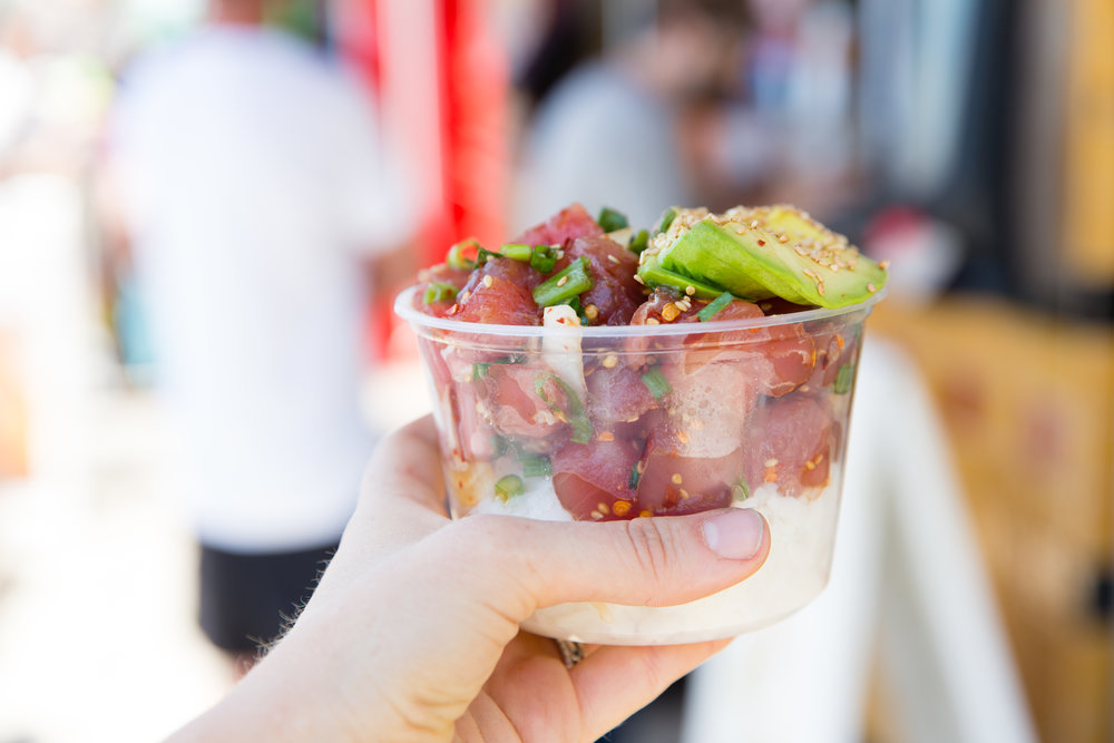 The OG Bowl at Poke-Poke, closest to its Hawaiain roots, is a customer favorite served with raw cubes sashimi grade ahi, shoyu, sesame oil, white and green onions, sesame seeds.