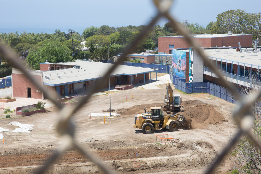 The old quad area at Malibu High School undergoes construction during summer 2018.