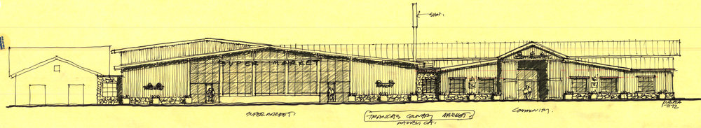 "Burdge's sketch ahead of his renovations of the Trancas Country Mart and above, the finished product. If the Country Mart project sustained some community pushback in the beginning, as soon as it opened it was garnering glowing reviews from locals. ""It very much fit the vibe and desires of western Malibu,"" said Malibu City Council member Laura Rosenthal."