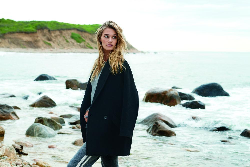 Sansa Coat, $495; Eliza Track Pant, 100% Cashmere, $250