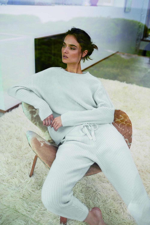 Campbell Sweater, 100% Cashmere, $200; Aubrina Jogger, 100% Cashmere, $225