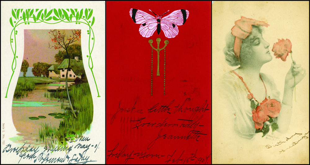 "Postcards were among the most accessible pieces of art and design in the early-20th century; miniature ""museums"" were curated by collectors in the forms of albums and scrapbooks."