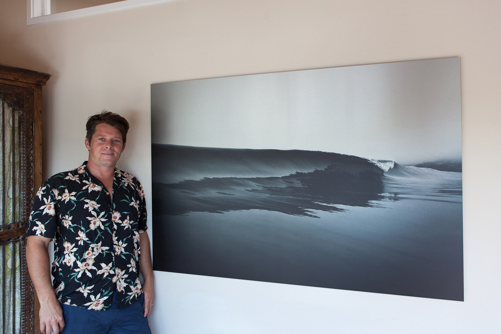 "Here is Aaron Ely at his office at Point Reyes Vacation Rentals, with his new 60""x40"" custom print on brushed aluminum. I'm really excited to add this new print option. The printed area has a matte surface, while the white areas of the image shine through with the brushed aluminum surface. This creates a unique glow to the image.  Custom sizes are available,  contact me  for details."
