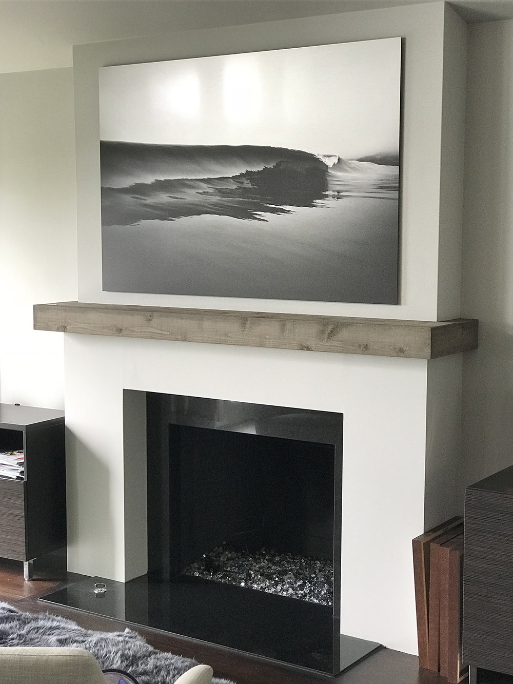 "Custom 60""x40"" black and white print on brushed aluminum for the Goldman family. These prints are really interesting in the way the highlights reflect, and they look different as the light changes during the day."