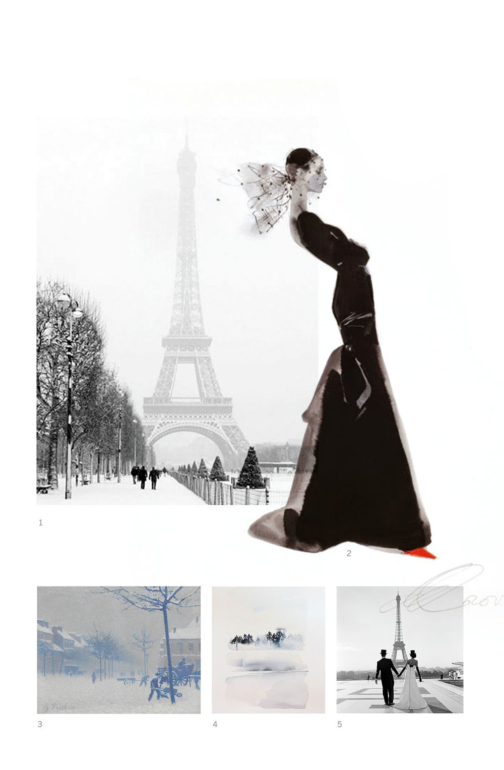 "Mood board for the Wedding Collection ""Paris in the snow"" by Type and Graphics Lab. Image references: 1. Pinterest, original source unknown. 2. David Downton 3. ""Rouen, place Cauchoise sous la neige,"" Charles Frechon. 4. Yao Cheng. 5. Pinterest, original source unknown."