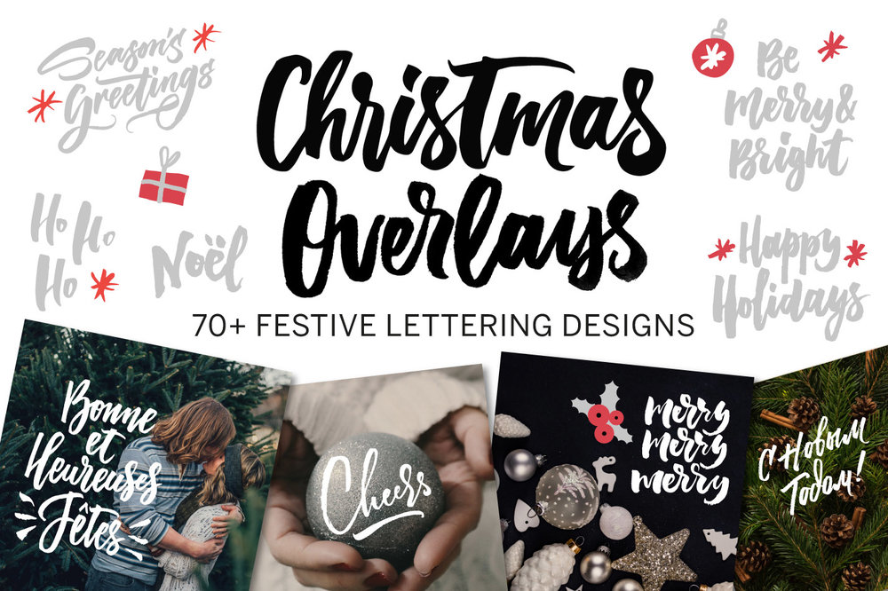 A collection of Christmas Overlays with lettering designs by Type and Graphics Lab | Available for sale | https://crmrkt.com/OMQk8