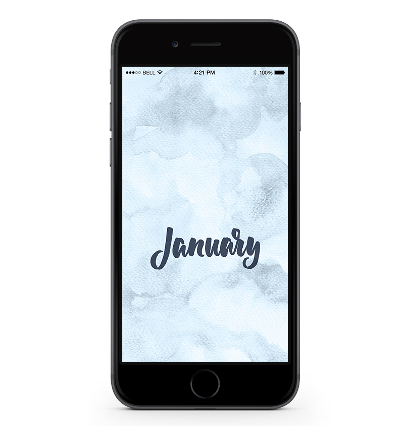 Download a free mobile calendar for January 2017. For personal use only |©typeandgraphicslab.com