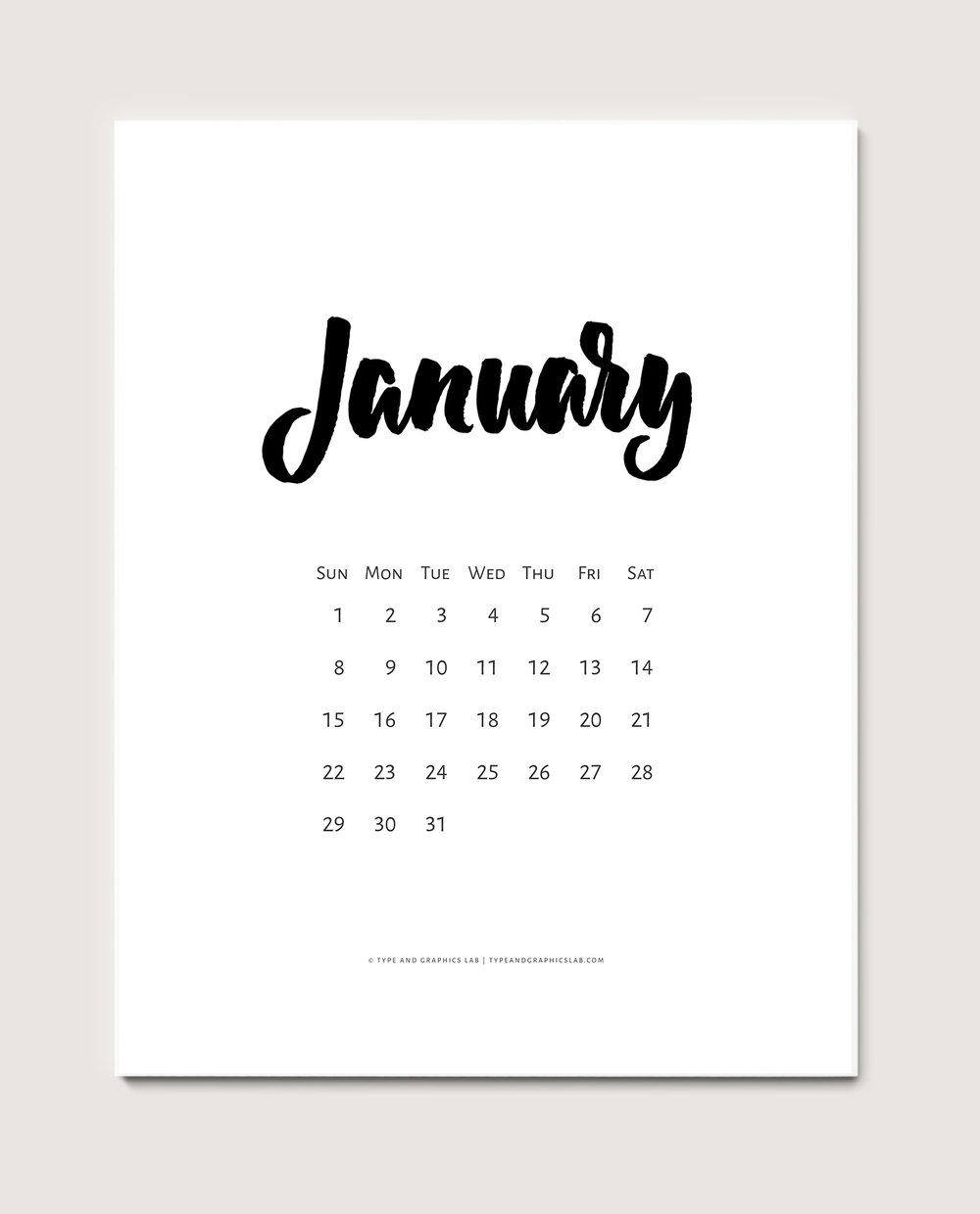 Download a free printable calendar for January 2017. For personal use only |©typeandgraphicslab.com